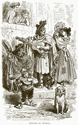 Beggars at Seville. Illustration from Illustrated Travels edited by HW Bates (Cassell, c 1880).