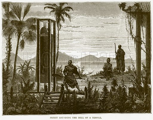 Priest Sounding the Bell of a Temple. Illustration from Illustrated Travels edited by H W Bates (Cassell, c 1880).