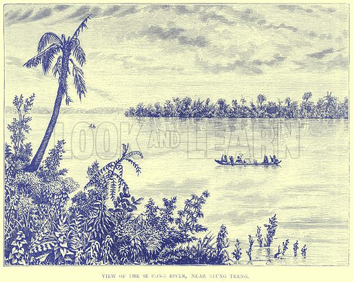 View of the Se Cong River, near Stung Treng. Illustration from Illustrated Travels edited by H W Bates (Cassell, c 1880).