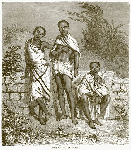 Group of Jynteea Women. Illustration from Illustrated Travels edited by HW Bates (Cassell, c 1880).