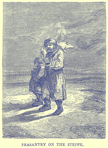 Peasantry on the Steppe. Illustration from Illustrated Travels edited by H W Bates (Cassell, c 1880).