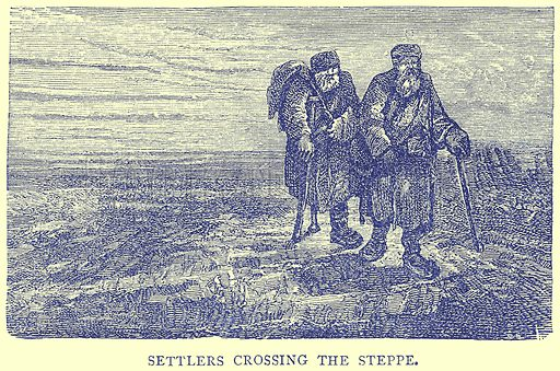 Settlers crossing the Steppe. Illustration from Illustrated Travels edited by H W Bates (Cassell, c 1880).