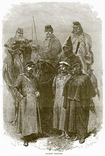 Russian Soldiers. Illustration from Illustrated Travels edited by H W Bates (Cassell, c 1880).