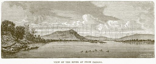 View of the River at Pnom Fadang. Illustration from Illustrated Travels edited by H W Bates (Cassell, c 1880).
