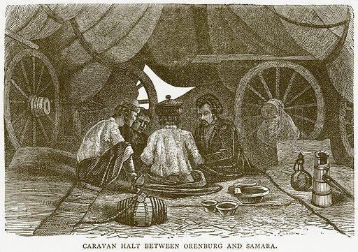 Caravan Halt between Orenburg and Samara. Illustration from Illustrated Travels edited by H W Bates (Cassell, c 1880).