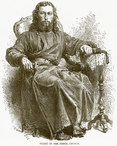 Priest of the Greek Church. Illustration from Illustrated Travels edited by H W Bates (Cassell, c 1880).