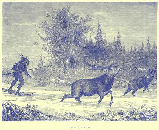 Winter in Lapland. Illustration from Illustrated Travels edited by H W Bates (Cassell, c 1880).