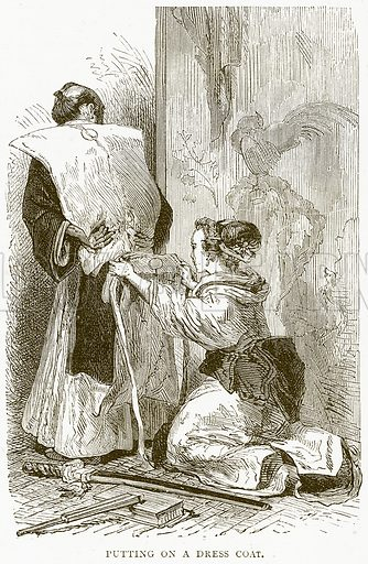 Putting on a Dress Coat. Illustration from Illustrated Travels edited by H W Bates (Cassell, c 1880).