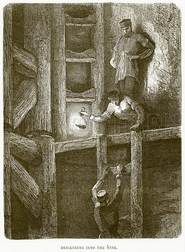 Descending into the Mine. Illustration from Illustrated Travels edited by H W Bates (Cassell, c 1880).