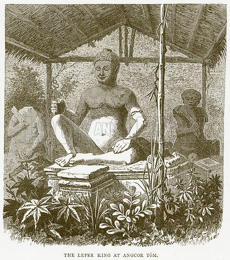 The Leper King at Angcor Tom. Illustration from Illustrated Travels edited by H W Bates (Cassell, c 1880).