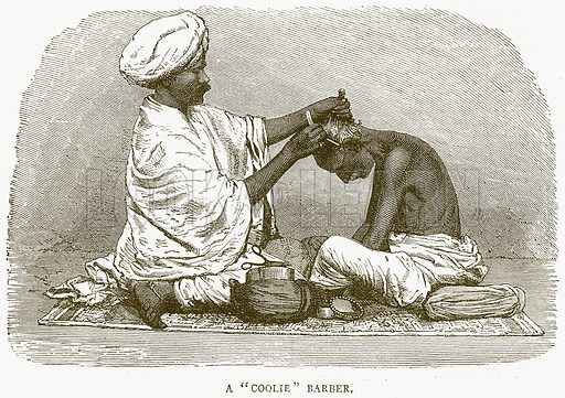 """A""""Coolie"""" Barber. Illustration from Illustrated Travels edited by HW Bates (Cassell, c 1880)."""