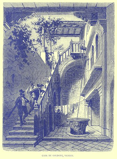 Casa di Goldoni, Venice. Illustration from Illustrated Travels edited by H W Bates (Cassell, c 1880).