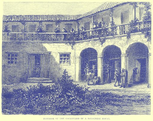 Interior of the Courtyard of a Bolognese House. Illustration from Illustrated Travels edited by H W Bates (Cassell, c 1880).