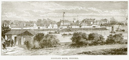 Consulate House, Shanghai. Illustration from Illustrated Travels edited by H W Bates (Cassell, c 1880).