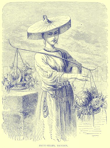 Fruit-Seller, Tientsin. Illustration from Illustrated Travels edited by H W Bates (Cassell, c 1880).