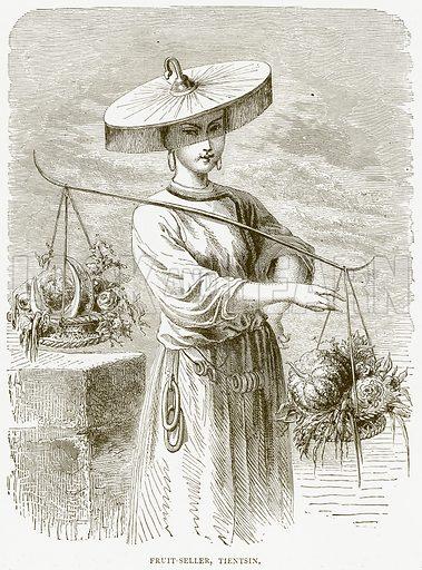 Fruit-Seller, Tientsin. Illustration from Illustrated Travels edited by HW Bates (Cassell, c 1880).