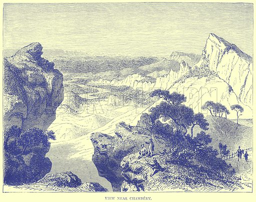 View near Chambery. Illustration from Illustrated Travels edited by H W Bates (Cassell, c 1880).