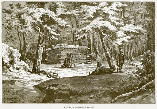Hut in a Norwegian Forest. Illustration from Illustrated Travels edited by HW Bates (Cassell, c 1880).