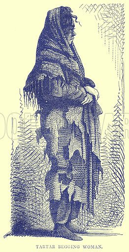 Tartar Begging Woman. Illustration from Illustrated Travels edited by H W Bates (Cassell, c 1880).