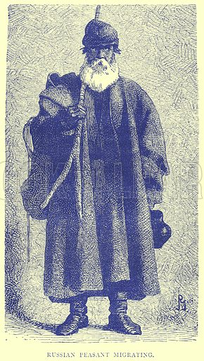 Russian Peasant Migrating. Illustration from Illustrated Travels edited by H W Bates (Cassell, c 1880).