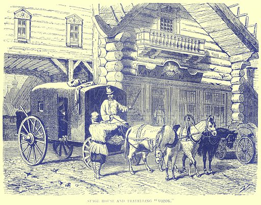 """Stage House and Travelling """"Vozok."""" Illustration from Illustrated Travels edited by H W Bates (Cassell, c 1880)."""
