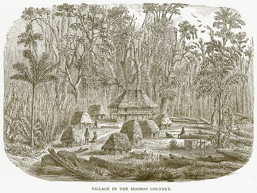 Village in the Hooboo Country. Illustration from Illustrated Travels edited by H W Bates (Cassell, c 1880).