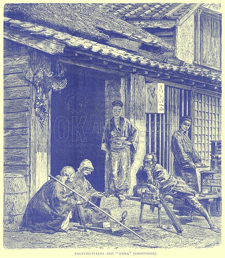 """Fortune-Teller and """"Amma"""" (Shampooer). Illustration from Illustrated Travels edited by H W Bates (Cassell, c 1880)."""