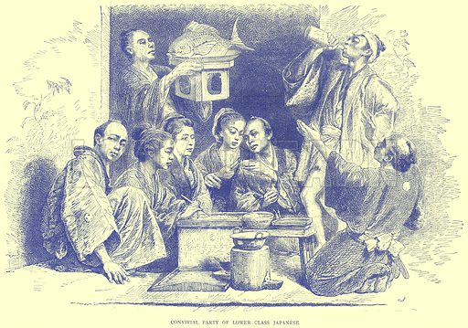 Convivial Party of Lower Class Japanese. Illustration from Illustrated Travels edited by H W Bates (Cassell, c 1880).