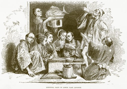 Convivial Party of Lower Class Japanese. Illustration from Illustrated Travels edited by HW Bates (Cassell, c 1880).