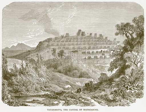 Tananarivo, the Capital of Madagascar. Illustration from Illustrated Travels edited by H W Bates (Cassell, c 1880).