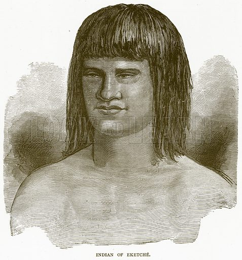 Indian of Eketche. Illustration from Illustrated Travels edited by H W Bates (Cassell, c 1880).