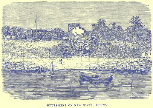 Settlement on New River, Belize. Illustration from Illustrated Travels edited by H W Bates (Cassell, c 1880).