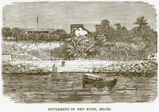 Settlement on New River, Belize. Illustration from Illustrated Travels edited by HW Bates (Cassell, c 1880).