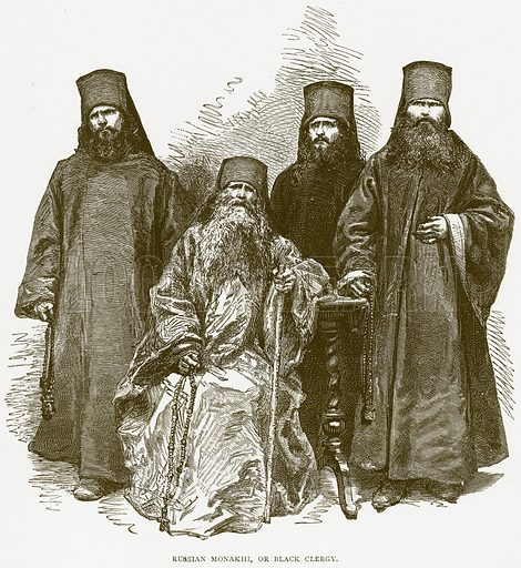 Russian Monakhi, or Black Clergy. Illustration from Illustrated Travels edited by H W Bates (Cassell, c 1880).