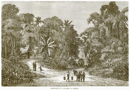 Environs of a Village in Borneo. Illustration from Illustrated Travels edited by H W Bates (Cassell, c 1880).