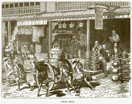 Shops, Yedo. Illustration from Illustrated Travels edited by H W Bates (Cassell, c 1880).