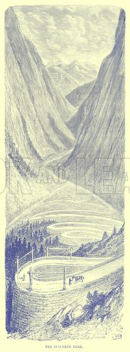 The Stalheim Road. Illustration from Illustrated Travels edited by H W Bates (Cassell, c 1880).