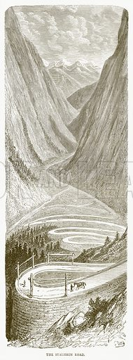 The Stalheim Road. Illustration from Illustrated Travels edited by HW Bates (Cassell, c 1880).