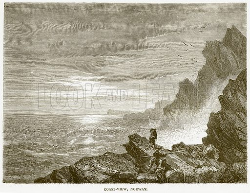 Coast-View, Norway. Illustration from Illustrated Travels edited by HW Bates (Cassell, c 1880).