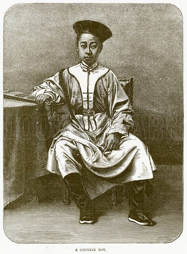 A Chinese Boy. Illustration from Illustrated Travels edited by HW Bates (Cassell, c 1880).
