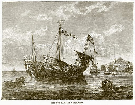 Chinese Junk at Singapore. Illustration from Illustrated Travels edited by HW Bates (Cassell, c 1880).