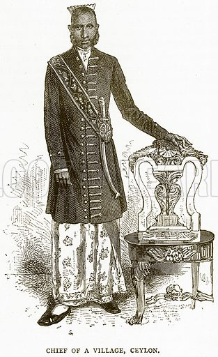 Chief of a Village, Ceylon. Illustration from Illustrated Travels edited by H W Bates (Cassell, c 1880).