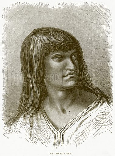 The Indian Chief. Illustration from Illustrated Travels edited by H W Bates (Cassell, c 1880).