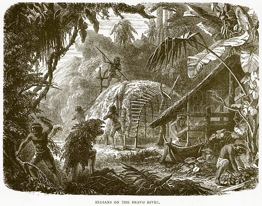 Indians on the Bravo River. Illustration from Illustrated Travels edited by H W Bates (Cassell, c 1880).