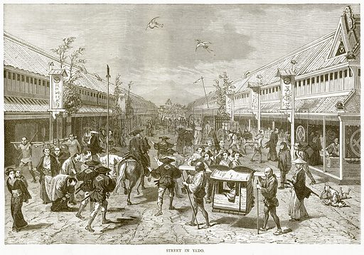 Street in Yedo. Illustration from Illustrated Travels edited by H W Bates (Cassell, c 1880).