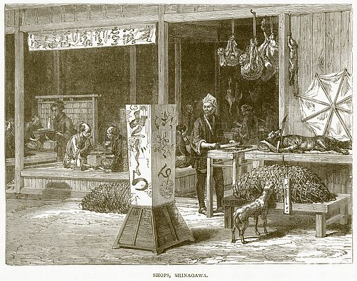Shops, Shinagawa. Illustration from Illustrated Travels edited by H W Bates (Cassell, c 1880).