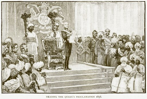 Reading the Queen's Proclamation 1858. Illustration for History of England by HO Arnold-Forster (Cassell, 1897).