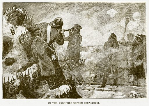 In the Trenches before Sebastopol. Illustration for History of England by HO Arnold-Forster (Cassell, 1897).