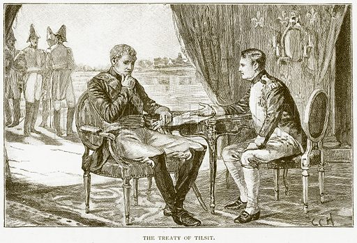 The Treaty of Tilsit. Illustration for History of England by HO Arnold-Forster (Cassell, 1897).