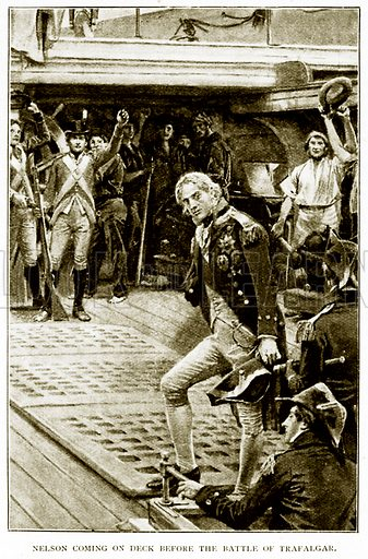 Nelson coming on Deck before the Battle of Trafalgar. Illustration for History of England by HO Arnold-Forster (Cassell, 1897).
